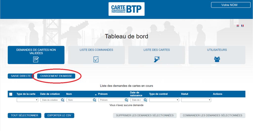 Carte BTP commande 2